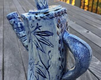 Handmade oil soy vinegar pourer with cobalt blue wash glaze