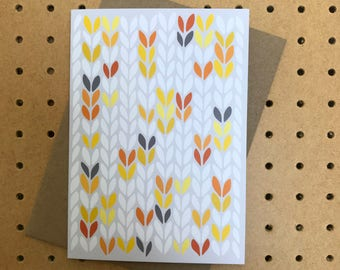 Yellow grey grellow stocking stitch knit graphic - greeting card