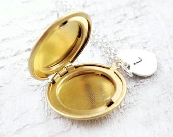 Initial Locket Necklace, Tiny Locket, Personalized Locket, Personalized Gift, Valentine Necklace, Initial Jewelry, Gold Round Locket