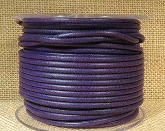 3mm Round Mediterranean Leather - Purple - 3M-MED-28 - Choose Your Length