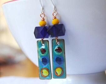 SALE Blue Earrings, Copper Enamel Earrings, Abstract Earrings, Spotted Earrings, Modern Abstract Earrings,