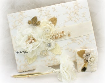 Wedding Guest Book, Ivory, Cream, White, Lace Guest Book, Elegant Wedding, Bridal Shower, Vintage Style, Signature Book, Pen, Gatsby Wedding