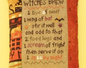 Witches Brew Halloween Pillow, Cross Stitch Pillow, Halloween Pillow, Haloween Home Decor, Fall Home Decor