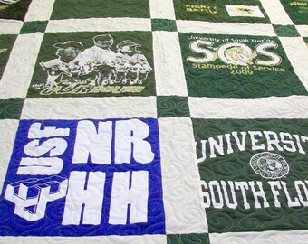 """Reserved for Shannon H. - TShirt Quilt Full Size 82"""" x 87"""" (25-30 T-Shirts) - DEPOSIT LISTING (25%) Payment 2 of 4"""