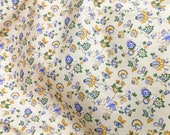 Quilt Cotton Fabric Vintage Flower Floral Blue Yellow and Green Tone Half Yard or Yard