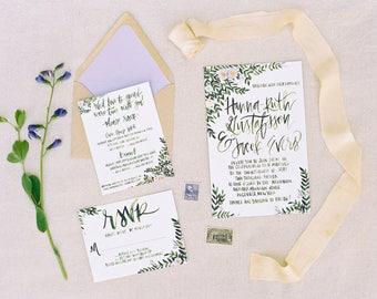 Tuscan Inspired Greenery - Wedding Invitations + Calligraphy  - Customizable