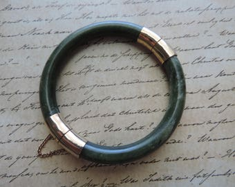 vintage jade bangle antique natural green stone bracelet with safety chain jade and gold