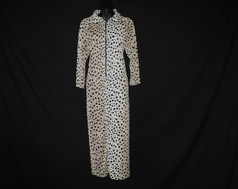 1960s leopard lounge gown vintage big cat nylon peignoir robe nightgown XL