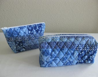 Blue Quilted Pouch Set