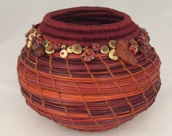 Embellished Red and Orange Rust Pine Needle Basket by Marcie Stone