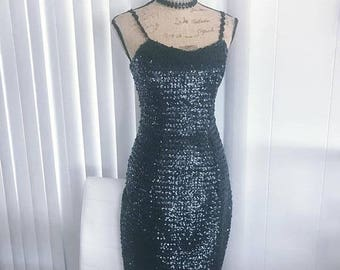40% OFF Christmas in July Va Va Voom -- 1950's Black Sequin Wiggle Dress -- Size S-M -- Glamorous