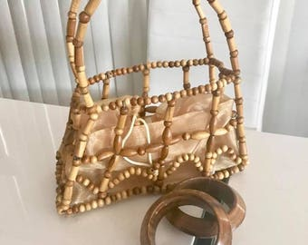 Vintage Bamboo Bead Purse -- Tiki Tiki Tiki -- Retro