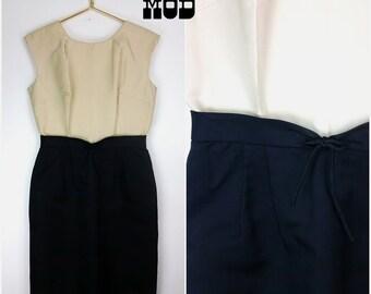 Vintage 50s 60s Tan & Black Hourglass Dress by Miss Ellyn - AS IS