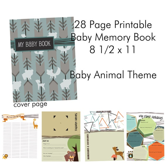 Printable Baby Memory Book 85x11 Pages Baby Animal Theme Baby