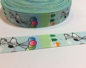3 Yards of Ribbon - Floating Balloons and Snoopy 1 inch Wide