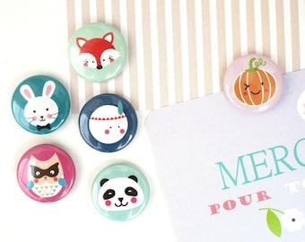 Choose theme autumn kawaii 25 mm to choose Magnet to Magnet: OWL/rabbit/Fox/full moon/panda