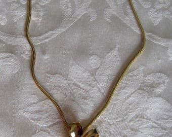 Vintage necklace, beautiful bow pendant, deep red marquise stones, Gold filled
