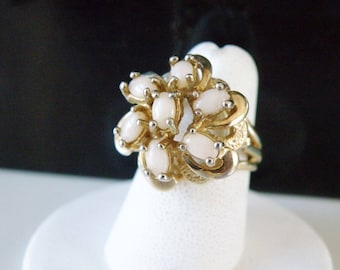 Vintage Antique Vermeil Gold on Sterling Silver Solid Opal Cluster Cocktail Ring Size 6.5