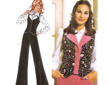 1970s Womens Flares Bell Bottom Pants and Waistcoat Pattern Burda Patterns 66024 B36 B38