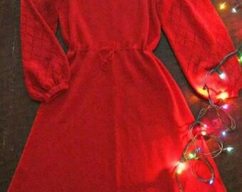 Spring SALE Vintage 60s red sweater dress / pointelle red bell sleeve 60s knit dress / Boho Hippie sweetheart dress