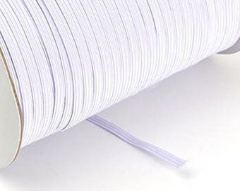 """1/4"""" Braided Elastic 10 Continuous Yards White Thin"""