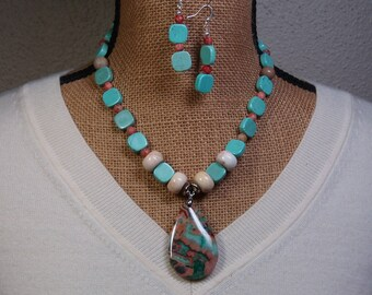 Natural Ocean Jasper Gemstone Pendant, Turquoise and Red Net Jasper, 925 Silver Necklace and Earrings