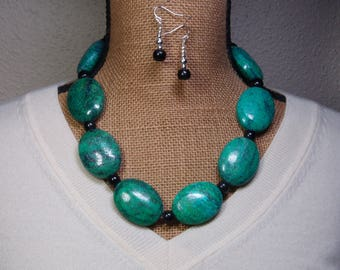 Natural Chrysocolla Gemstones, Black Onyx Gemstones, 925 Silver Necklace and Earrings