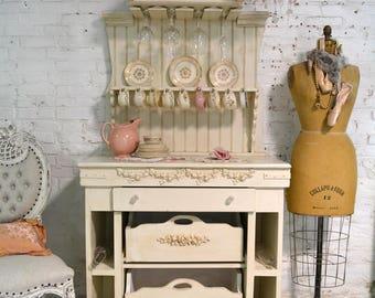 Painted Cottage Chic Shabby Romantic French Farmhouse Tea / Wine Bar / Dessert Bar