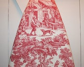 """Red / Ivory Toile Ironing Board Cover — Out-of-Print Laura Ashley """"English Country"""" Toile Fabric — Fits Boards to 18 Inches Wide"""