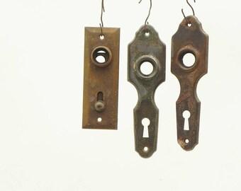 3 Salvaged Vintage Door Knob Plates Escutcheons Repurpose Steampunk Assemblage Craft Supply