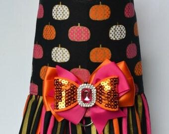 Dog Harness Vest - Halloween Dog Harness - Pumpkin Dog Harness - Halloween Dog Dress - Fall Dog Harness
