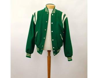 Varsity letter jacket wool leather Holloway green white letterman sports bomber jacket Size 42