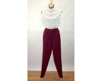1980s pants high waist pleated burgundy maroon wool blend pants NOS with tag Size M