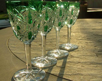 Vintage Baccarat Crystal Green Cut Clear Lagny Port Wine Glasses RARE