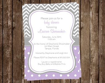 Baby Shower Invitations, Lavender, Purple, Chevron, Stripes, Polka Dots, Its a Girl, Baby Sprinkle, 10 Printed Invites, FREE Shipping