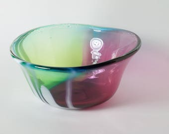 Handblown green, magenta and blue bowl