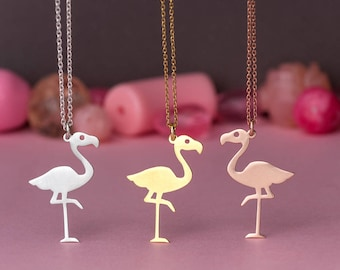 Flamingo Necklace Summer Necklace Tropical Bird Pendant Sterling Silver Kids Teen Jewelry Rose Gold charm Birthday gift