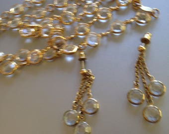Australia Necklace and Earrings Clear Bezel Crystals