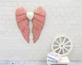 Dark pink angel wings in 1:12 scale