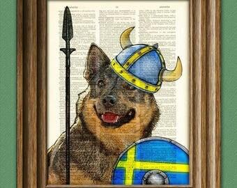 Swedish Vallhund Dog illustration Freja the Viking Shieldmaiden upcycled dictionary page book art print