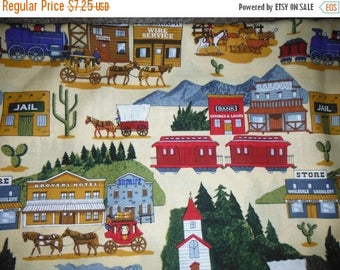 Colorful Town Fabric w Lots of Details--Unique--HARD Find