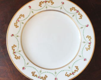 Set of 8 Hand Painted Pink and Green Gold Gilt Ovington Bros & Sons English China Plates 17693
