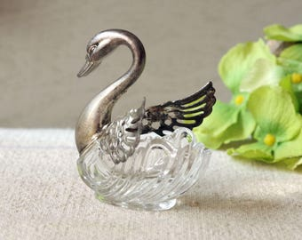 Antique Swan Salt Cellar Clear Glass and Silver Plate Movable Wings
