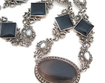 CIJ SALE Christmas JULY Stunning Victorian Austro Hungarian Ornate Silver Pearl Black Onyx Chalcedony Vintage Antique Necklace