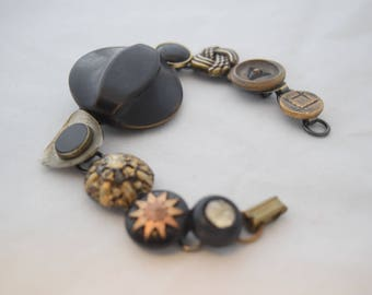 Living With Good Intentions - 7 or 8 inch bracelet sizable earrings cuff links buttons bling fun timeless whimsical classic