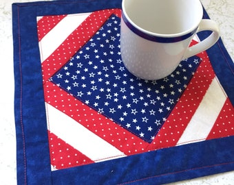 Mug Rug Stars and Stripes in Red White and Blue - Quilted Patchwork Placemat or Coaster