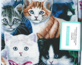 "3 CATS FAT QUARTERS Cotton Fabric.  18"" x 21"" each quarter. Brand new."