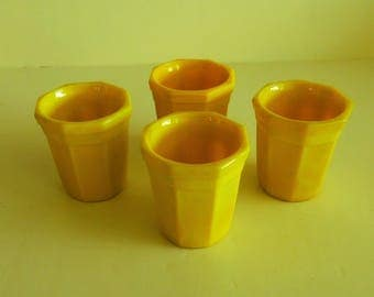 Akro Agate Yellow Tumblers  - Child's Toy Dishes