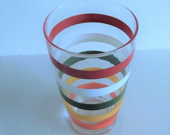 Vintage Striped Glass Shaker - 1950's - Anchor Hocking Fiesta Bands