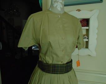 Lord & Taylor Young New Yorker Shop Vintage Dress Size 15 Khaki Color  Cotton